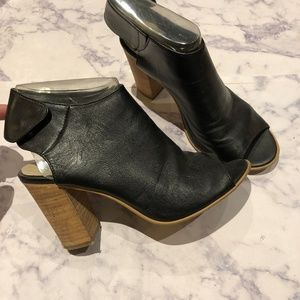Leather Open Toe Bootie